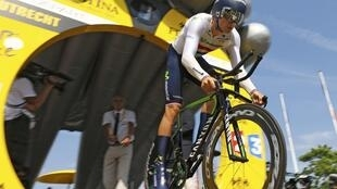 Movistar rider Alex Dowsett in action during the individual time-trial stage of the 2015 Tour de France in Utrecht.