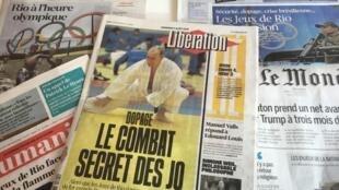 Primeiras páginas dos jornais franceses de 05 de agosto de 2016, em tempo de Jogos olímpicos no Brasil