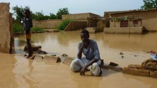 An area of Niamey under flood water.