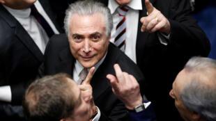 O novo presidente do Brasil, Michel Temer, a 31 de Agosto em Brasilia durante a sua tomada de posse.