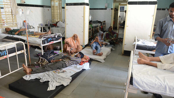 Indian patients undertaking treatment for viral infections including dengue fever at Vadilal Sarabhai hospital in Ahmedabad