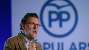 El presidente de Gobierno Mariano Rajoy interviene en un encuentro en apoyo a los candidatos de su partido en vista de las elecciones anticipadas en Cataluña del 21 de diciembre. Barcelona 12 noviembre 2017