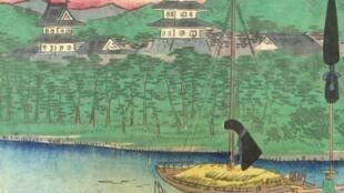 L'affiche de l'exposition «Sur la route du Tokaïdo» au musée national des arts asiatiques Guimet jusqu'au 7 octobre 2019.