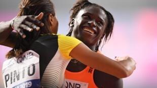La Nigérienne Aminatou Seyni, lors des qualifications sur le 200 m à Doha au Qatar, le 30 septembre 2019.