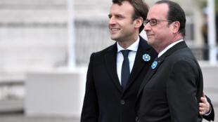 法国新当选总统马克龙与奥朗德总统一道出席五月八日停战节