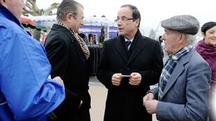 François Hollande meets the people in Argentat  in his home region, Corrèze
