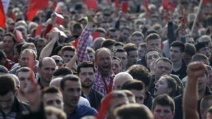 Manifestación en las calles de Pristina el pasado 17 de febrero de 2016.