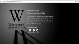 English-language Wikipedia page on 18 January 2012