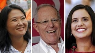 De gauche à droite, Keiko Fujimori, PPK et Veronika Mendoza.