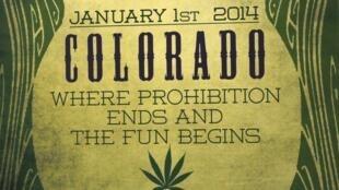Affiche à l'entrée d'un magasin de marijuana à Northglenn, Colorado, le 1er janvier 2014.