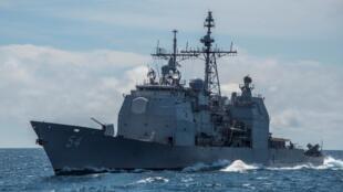 Chiến hạm tên lửa dẫn đường USS Antietam (CG 54) của Mỹ tuần tra Biển Đông ngày 06/03/2016.