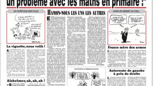 Edição do jornal Le Canard Enchaîné desta quarta-feira (25) com chamada de capa para reportagem sobre rendimentos suspeitos de Pénélope Fillon.