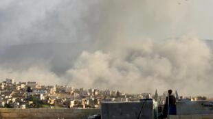Thành phố Atimah thuộc tỉnh Idlib sau một trận oanh kích. Ảnh tư liệu.
