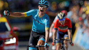 Капитан Astana Pro Team Якоб Фульсанг одержал победу на 15-м этапе велогонки «Тур деФранс», 22 июля 2018.