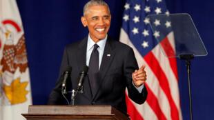 Barack Obama, faz discurso na campanha do Partido Democrata para as eleições de meio mandato.