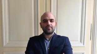 L'écrivain italien Roberto Saviano à Paris (avril 2019).