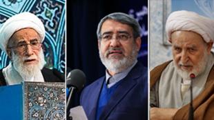 محمد یزدی رئیس خبرگان، رحمانی فضلی وزیر کشور و احمد جنتی دبیر شورای نگهبان