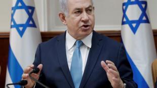O Primeiro-ministro israelita, Benyamin Netanyahu, em Jerusalém, a 3 de Janeiro de 2018