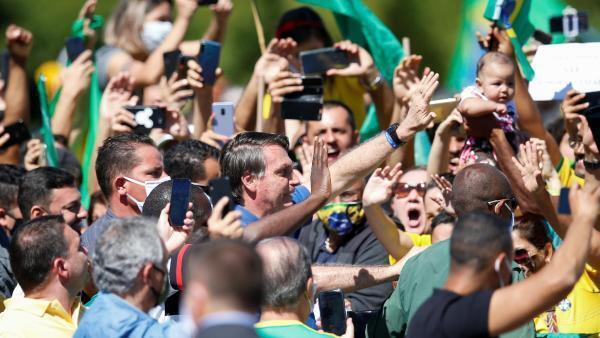 Brazilian President Jair Bolsonaro participates in a rally of his supporters in the capital Brasilia.