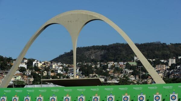 Desafio Internacional de Tiro com Arco no Sambódromo do Rio de Janeiro, evento-teste das instalações para os Jogos Olímpicos Rio 2016.