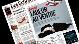 Capa dos jornais franceses Libération e Les Echos desta terça-feira, 26 de maio de 2015.