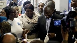 President of South Africa's governing African National Congress, Cyril Ramaphosa, casts his ballot at a polling station for the country's parliamentary and provincial elections, in Soweto, Johannesburg, South Africa, May 8, 2019.
