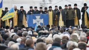 Молебен перед началом объединительного собора в храме св. Софии в Киеве, 15 декабря 2018 г.