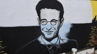 Le portrait du journaliste Daniel Pearl sur un mur de Los Angeles.
