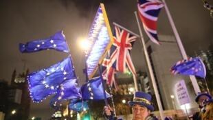 Manifestantes anti-Brexit se reuniram em frente ao Parlamento britânico na quinta-feira, 30 de janeiro de 2020.