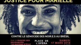 Cartaz de convocação de protesto em Paris contra a execução de Marielle Franco.