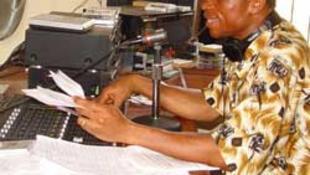Newsreader in Sierra Leone