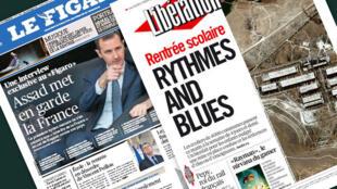 Capa dos jornais franceses Le Figaro e Libération desta terça-feira, 3 de setembro de 2013