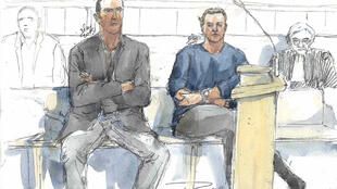 A court sketch shows French police officers Sebastien Gaillemin and Stephanie Klein attending their trial in Rennes on 16 March, 2015