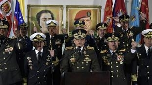 Defence Minister Vladimir Padrino speaks during a press conference in Caracas on 24 January 2019.