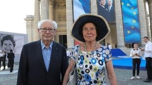 Serge and Beate Klarsfeld attend the burial ceremony of former French politician and Holocaust survivor Simone Veil on 1 July 2018.