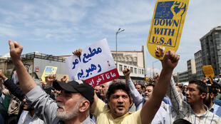A protest in Teheran against the decision by Donald Trump to withdraw US support for the Joint Comprehensive Plan of Action.