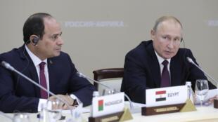 Le président russe Vladimir Poutine et le président égyptien Abdel Fattah al-Sissi lors du sommet Russie-Afrique à Sotchi, le 23 octobre 2019