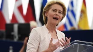 Ursula von der Leyen, no discurso no Parlamento Europeu a 16 de Julho de 2019. Estrasburgo, França.