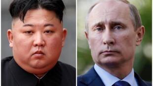 Ảnh ghép lãnh đạo Bắc Triều Tiên Kim Jong Un (t) tại Hà Nội (Việt Nam) ngày 02/03/2019 và tổng thống Nga Vladimir Putin tại Sochi (Nga) ngày 16/05/2013.