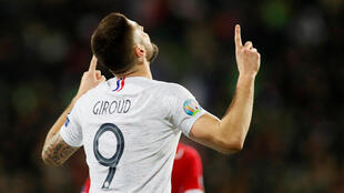 Olivier Giroud scored his 34th international goal during France's 4-1 victory in Moldova.