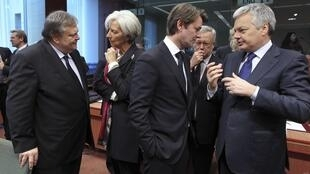 In Brussels - Evangelos Venizelos (Greece), François Baroin (France), Giulio Tremonti (Italy) and Christine Lagarde (IMF)