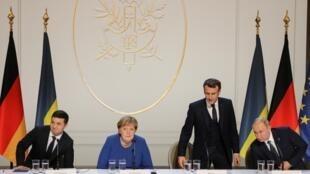 Владимир Зеленский, Ангела Меркель, Эмманюэль Макрон и Владимир Путин на пресс-конференции по итогам Нормандского саммита. Париж. 9 декабря 2019 г.