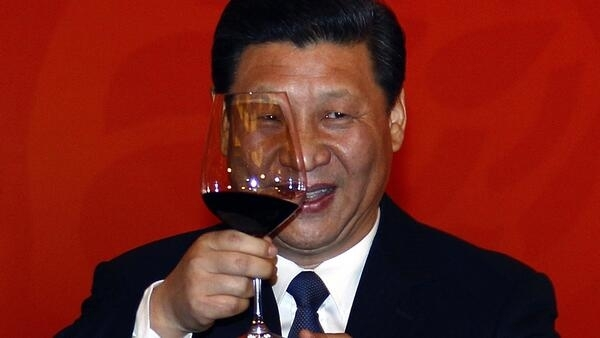He likes a glass of red - Chinese Vice-President Xi Jinping makes a toast at a banquet in the US