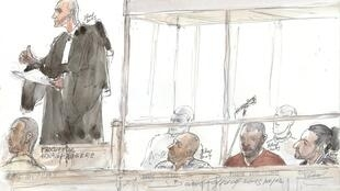A court sketch created on December 7, 2015 in Paris, shows (FromL) French prosecutor Arnaud Faugere, Karim Hadjidj, Paul M'Barga, Mehdi Ider, during a trial of seven men accused of recruiting French jihadists and help them travel to Syria.