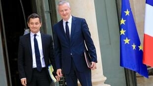 Public Accounts Minister Gerarld Darmanin (L)  and Finance Minister Bruno Le Maire at the Elysée presidential palace