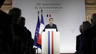 Le président français Emmanuel Macron lors de son discours devant le Conseil constitutionnel marquant le 60e anniversaire de la Ve République, le 4 octobre 2018.