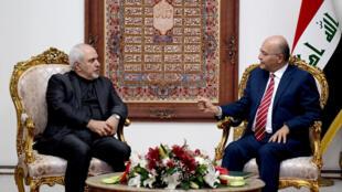 Ngoại trưởng Iran Mohammad Javad Zarif (trái) và tổng thống Irak Barham Salih tại Bagdad ngày 25/05/2019.