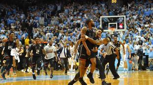 Feb 27, 2018; Chapel Hill, NC, USA; Miami (Fl) Hurricanes players celebrate after guard Ja'Quan Newton (0) hits a last second shot to win the game. The Hurricanes defeated the Tar Heels at Dean E. Smith Center