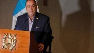 Alejandro Giammattei, le nouveau président élu du Guatemala, le 13 janvier 2020, lors d'une conférence de presse.