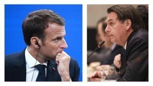 Ảnh minh họa : Tổng thống Pháp  Emmanuel Macron (T) và tổng thống Brazil Jair Bolsonaro có nhiều quan điểm bất đồng.